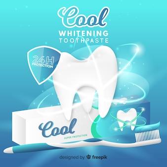Annuncio realistico di dentifricio fresco Vettore Premium