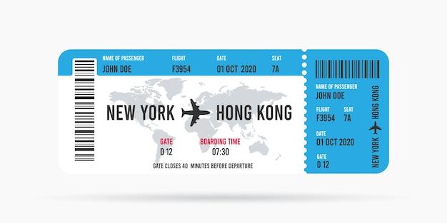 Design realistico del biglietto aereo con il nome del passeggero.