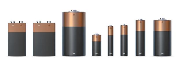 Dimensioni realistiche della batteria alcalina aa, aaa e d. tipi di batterie. fonte di energia elettrica chimica in cilindro metallico. insieme di vettore dell'icona di carica 3d. diversi accumulatori elettrici monouso