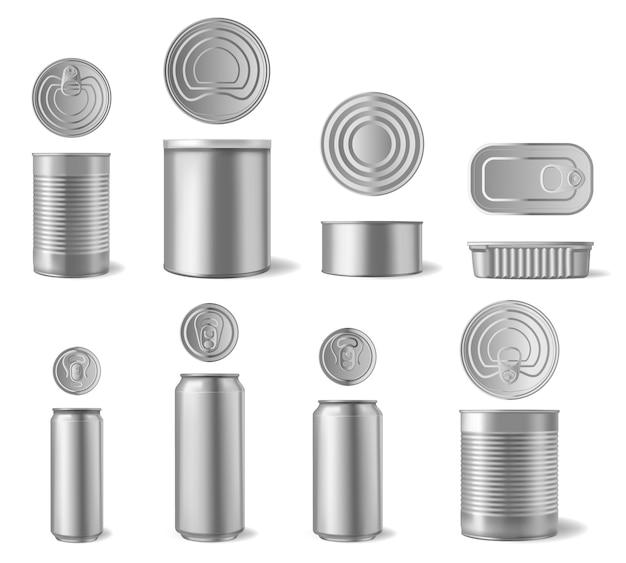 Lattina di alluminio realistica. lattine per bevande e cibi in scatola, imballaggi in metallo di diverse forme con vista frontale e vista dall'alto. contenitore per birra per bevande, illustrazione in alluminio