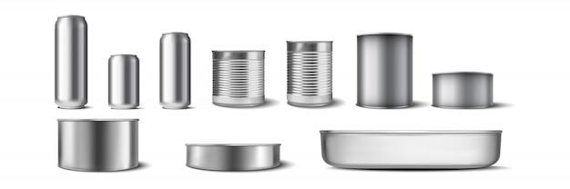 Collezione di lattine di alluminio realistiche