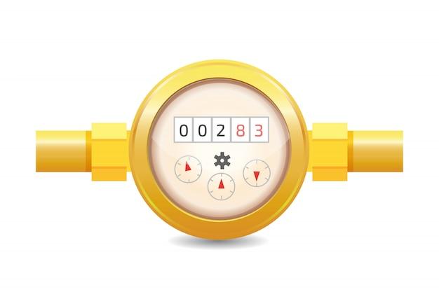 Illustrazione realistica di vettore del contatore per acqua analogico. attrezzature sanitarie