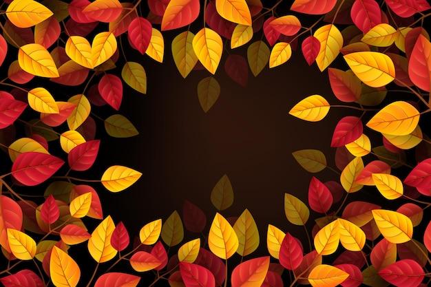 Sfondo autunnale realistico con foglie
