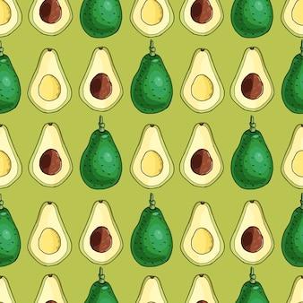 Avocado realistico modello senza cuciture cibo esotico estivo cartone animato intero, mezzo frutti illustrazione disegnata a mano verdura biologica naturale schizzo su sfondo di colore verde oliva.