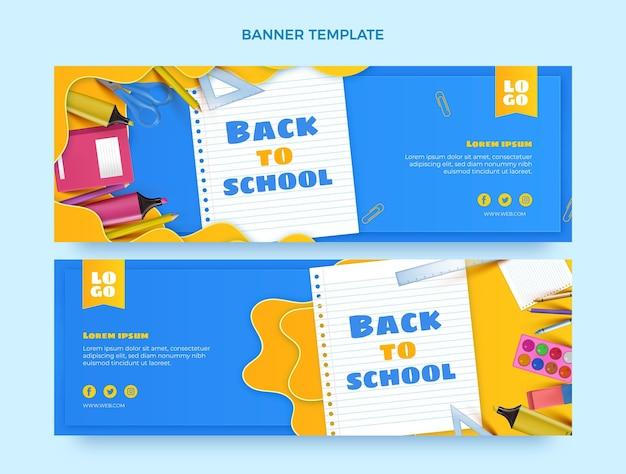 Set di banner orizzontali realistici per il ritorno a scuola