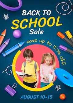Volantino di vendita verticale realistico per il ritorno a scuola con foto
