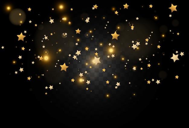 Sfondo realistico di luminose stelle d'oro