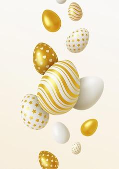 Fondo realistico composizione delle uova di pasqua 3d.