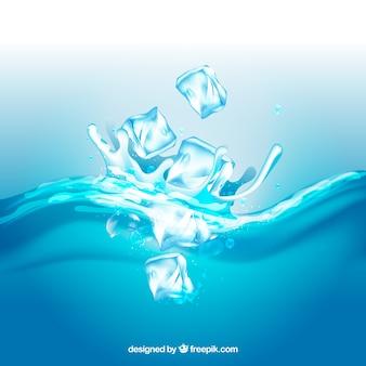 Sfondo realistico con cubetti di ghiaccio e spruzzi d'acqua