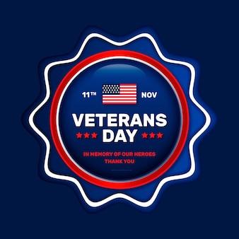 Distintivo realistico della giornata dei veterani