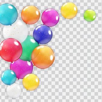 Insieme di raccolta palloncino realistico isolato su sfondo trasparente.