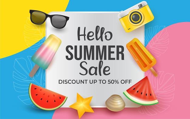Banner realistico ciao illustrazione di vendita estiva