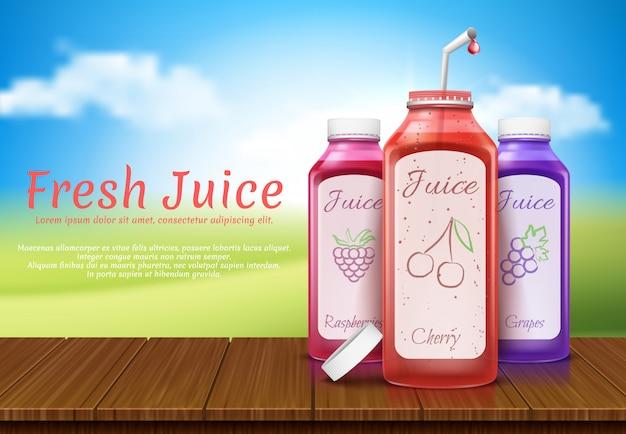 Banner realistico con bottiglie di succo