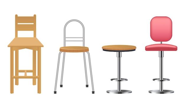Sedia da bar realistica in legno e metallo