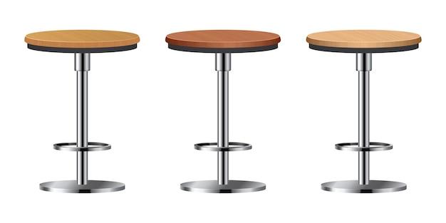 Set sedia bar realistico isolato su bianco