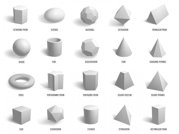 Forme di base realistiche. forme della sfera, del cilindro, della piramide e del cubo della geometria, icone dell'illustrazione del modello di forme geometriche messe. modello cubo, sfera, poligono, costruzione del gruppo esagonale