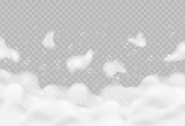 Schiuma da bagno realistica con bolle isolate. illustrazione scintillante di vettore della schiuma del sapone e dello sciampo.
