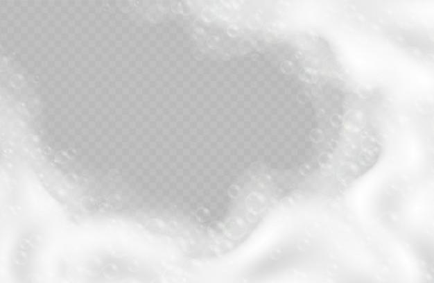 Schiuma da bagno realistica con bolle isolate su sfondo trasparente. shampoo frizzante e bordo schiuma di sapone