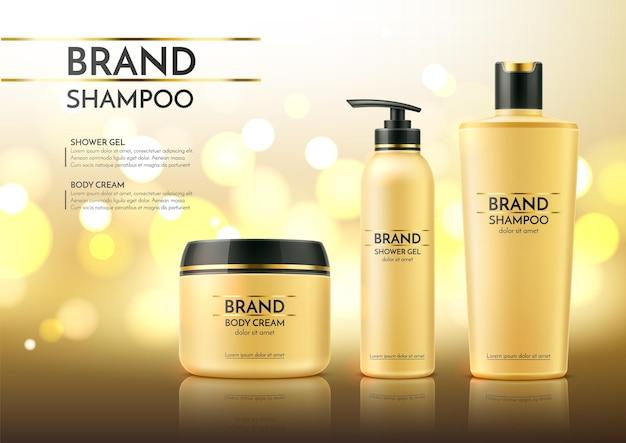 Realistico bagno e spa prodotti modello pubblicitario vaso di crema di cosmetici spa cura della pelle di vettore