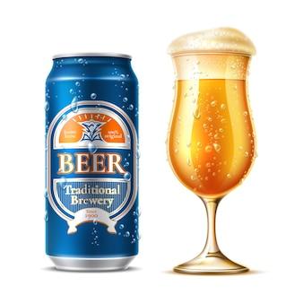Bicchiere da birra realistico con lattina di birra in alluminio