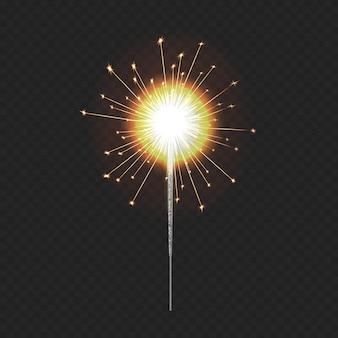 Luce realistica del bengala, stelle filanti natalizie festive, elemento di illuminazione decorativo.