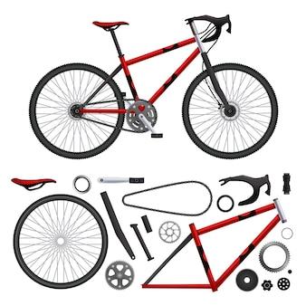 Set di parti di biciclette realistiche di elementi di bici isolati e illustrazione del modello costruito