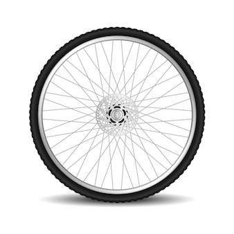 Realistico pneumatico per bicicletta ruota isolata su bianco