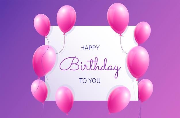 Sfondo di compleanno realistico con baloons