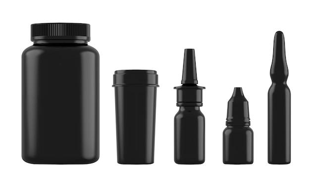 Bottiglie nere realistiche per farmaci, compresse, gocce e spray ecc.