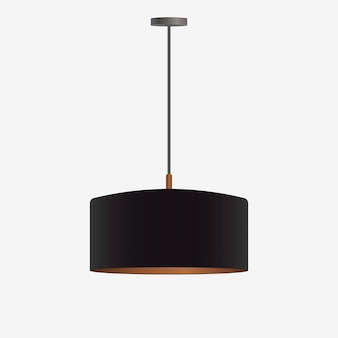 Lampadario nero realistico. lampadario isolato su uno sfondo bianco. stile loft. elemento di design degli interni.