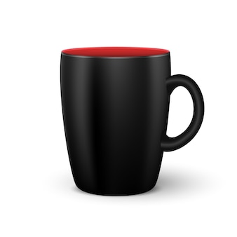 Realistico caffè nero o tazza da tè mockup di tazza 3d isolata con spazio rosso all'interno di eps10