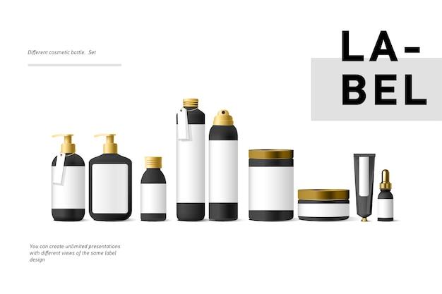 Realistico cosmetico nero mock up contenitore crema e tubo per crema, unguento, dentifricio