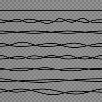 Cavi elettrici curvi neri realistici e cavi di alimentazione industriali. cavo isolato in gomma di rete flessibile 3d. set di vettori di cablaggio intrecciato