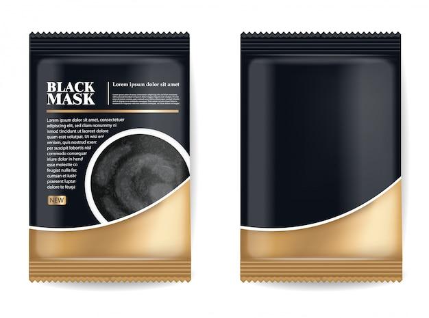 Maschera nera realistica, pacchetto 3d nero isolato, cosmetici di marca, progettazione della maschera facciale del carbone, illustrazione del prodotto di bellezza