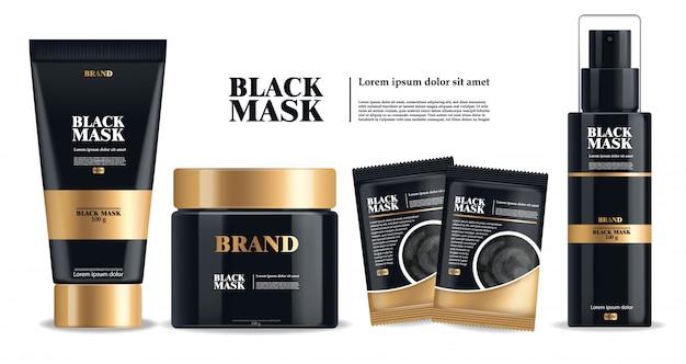 Maschera nera realistica, insieme isolato pacchetto nero 3d, cosmetici di marca, progettazione della maschera facciale del carbone, illustrazione del prodotto di bellezza