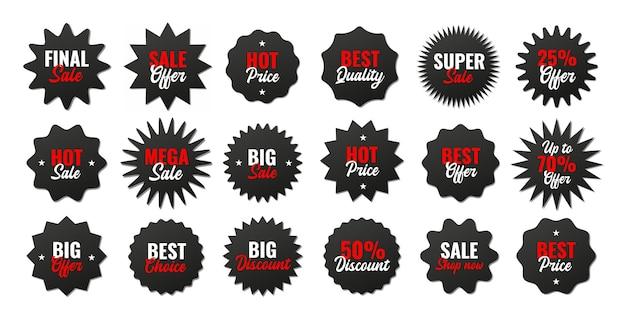 Collezione di cartellini dei prezzi neri realistici. offerta speciale o etichetta di sconto per lo shopping. adesivo di carta al dettaglio. distintivo di vendita promozionale. illustrazione vettoriale eps 10
