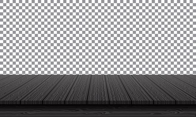 Piano del tavolo in legno nero realistico su sfondo di trasparenza