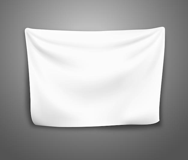 Banner bianco realistico con pieghe