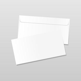 Modello di lettera vuoto realistico su sfondo grigio