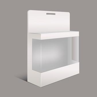 Pacchetto di carta bianca realistico con finestra di plastica