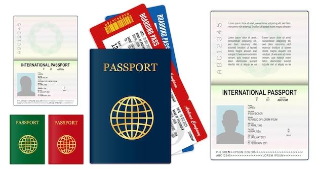 Pagine di passaporto vuote realistiche o passaporto vuoto con filigrana e timbri
