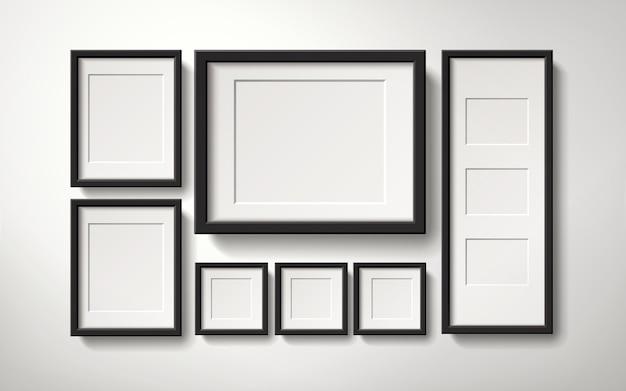 Raccolta di cornici in bianco realistico appesa al muro in modo regolare, illustrazione 3d