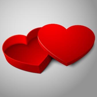 Scatola di forma di cuore aperto rosso vuoto realistico isolato