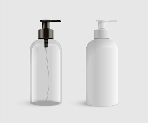 Bottiglie di plastica trasparenti e bianche vuote realistiche per sapone liquido o disinfettante