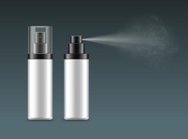 Modelli di flaconi spray bianchi vuoti realistici con nebbia spray