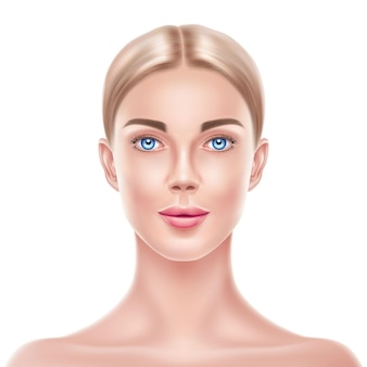 Realistico donna bionda modello bellezza viso