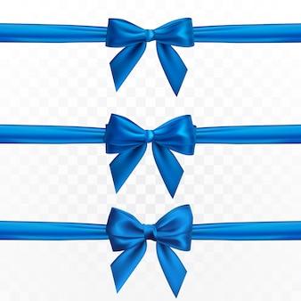 Fiocco blu realistico. elemento per regali di decorazione, saluti, vacanze.