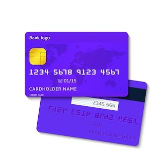 Carta di credito blu realistica, due lati isolati su priorità bassa bianca.