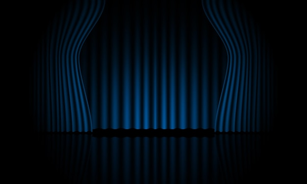 Illustrazione di vettore del fondo di vettore della stanza della fase aperta della tenda blu realistica