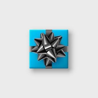 Scatola regalo blu realistica con fiocco nero scintillante e nastro. illustrazione.